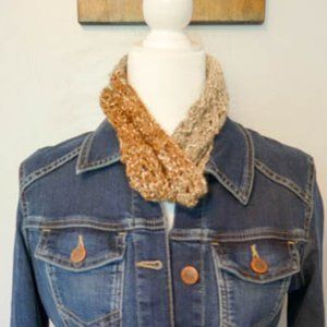 Brown Gray Silver Infinity Scarf